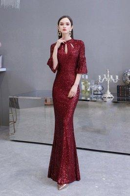Glitzernde Half Sleeves Keyhole Mermaid Long Burgund Prom Kleid_7