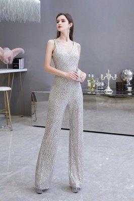 Sexy Shining V-Ausschnitt Silber Pailletten Ärmellose Prom Jumpsuit_9