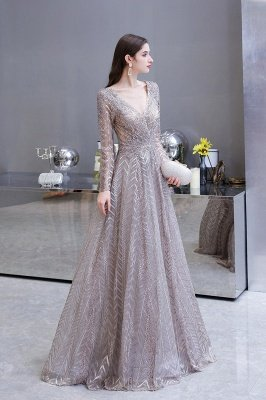 Modest Long sleeves V-neck Princess Prom Dress_10