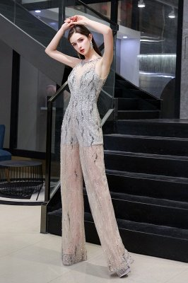 Sparkle Illusion High neck See-through Prom Jumpsuit_5