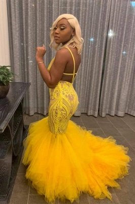 Yellow Mermaid Lace Puffy Tulle Open back Long Prom Dress_2
