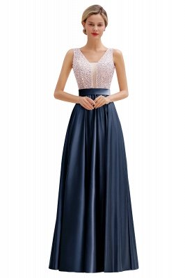 Arik | Simple Pearl pink Sequined Belt Pleats Long Prom Dress_3