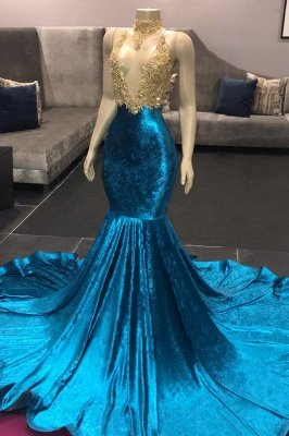 High Neck Illusion Neckline Sleeveless Long Train Appliqued Mermaid Prom Gowns_1