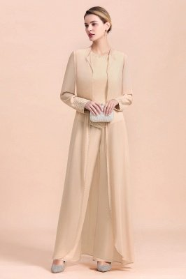 Champagne Long sleeves Jacket Chiffon Mother of the Bride Jumpsuit_6