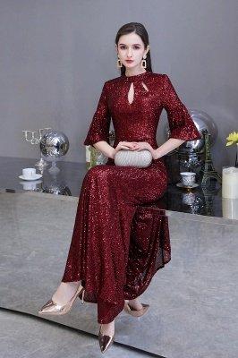 Glitzernde Half Sleeves Keyhole Mermaid Long Burgund Prom Kleid_6
