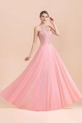 Robes de demoiselle d'honneur licou A-ligne de perles de poires roses modestes_21