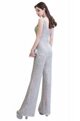 Sexy Shining V-Ausschnitt Silber Pailletten Ärmellose Prom Jumpsuit_24
