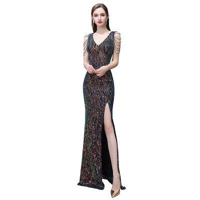 Sparkle V-neck High split Sleeveless Black Evening Dress Online_3