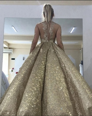 Sleeveless Straps Gold Sequin Ball Gown Long Sparkle Prom Dress_2