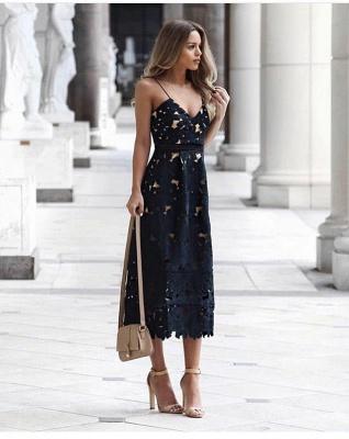 Elegantes dunkelblaues Spitzen-billiges knöchellanges Heimkehrkleid_2