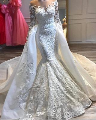 Charmantes robes de mariée mariage sirène appliques en dentelle avec train détachable_2