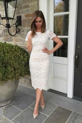 Elegante kurze weiße knielange Spitze Homecoming Kleider mit Ärmeln_2