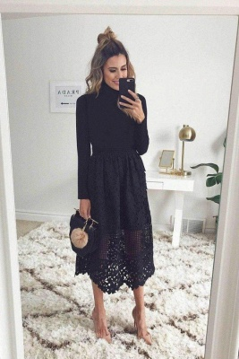 Black Long sleeves lace Ankle length Summer Homecoming Dress_1