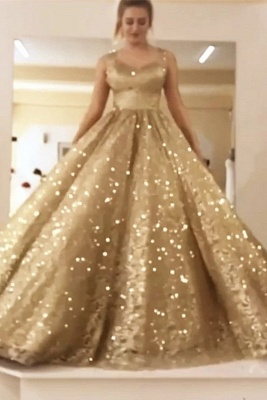 Sleeveless Straps Gold Sequin Ball Gown Long Sparkle Prom Dress_1