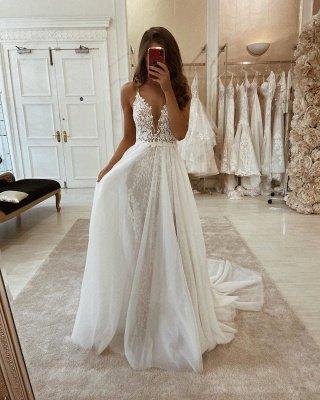 مثير البوهيمي الصيف شاطئ فستان الزفاف مع انقسام عالية_2