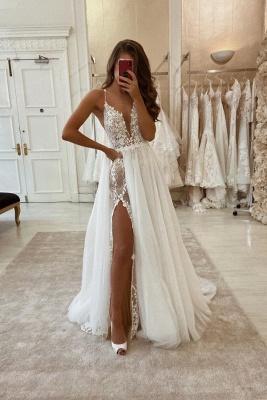 مثير البوهيمي الصيف شاطئ فستان الزفاف مع انقسام عالية_1