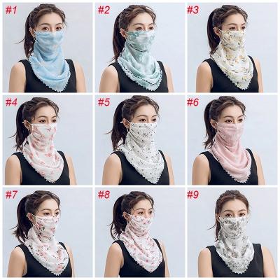 Frauen Schal Gesichtsmaske Multifunktional 13 Styles Seide Chiffon Taschentuch Outdoor Windproof Half Face Staubdichte Sonnenschutzmasken