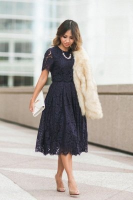 1/2 Sleeve Lace Summer Knee length Homecoming Dress on Sale