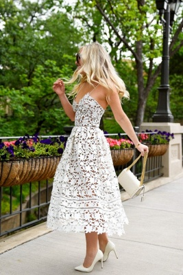 Chic White Spaghetti Strap Princess Summer Homecoming Dresses_2