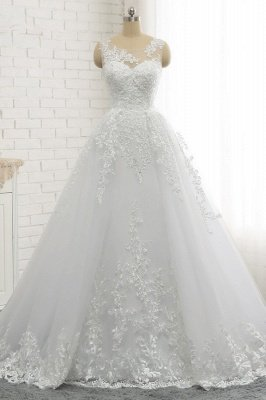 Classic Round neck Lace appliques White Princess Wedding Dress