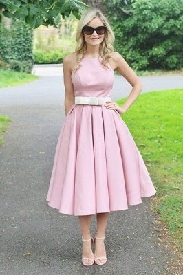 Light Pink Halter Sleeveless Summer Homecoming Dress with Belt