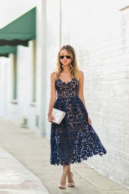 Elegant Navy Blue Lace Ankle-length Homecoming Dress
