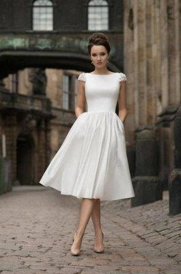 High neck White Knee-length Short Homecoming Dress for summer time