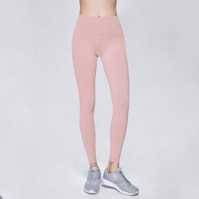 Elastic Fitness Lady Overall Full Tights Solid Color High Waist Yoga Gym Wear Leggings_5