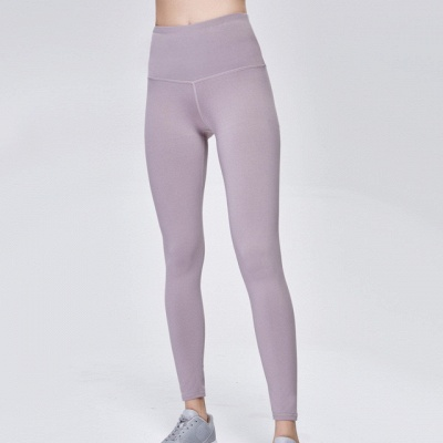 Elastic Fitness Lady Overall Full Tights Solid Color High Waist Yoga Gym Wear Leggings_8