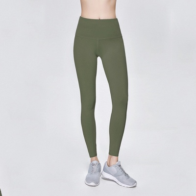 Elastic Fitness Lady Overall Full Tights Solid Color High Waist Yoga Gym Wear Leggings_12