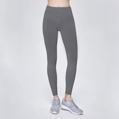 Elastic Fitness Lady Overall Full Tights Solid Color High Waist Yoga Gym Wear Leggings_13