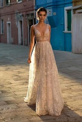 Chic Champange V-cuello sin mangas de encaje largo vestido de novia de cintura alta_1