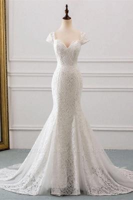 Elegant Cap Sleeve Aweetheart Floral Lace Slim Mermaid Wedding Dress Lace-up Wedding Party_2