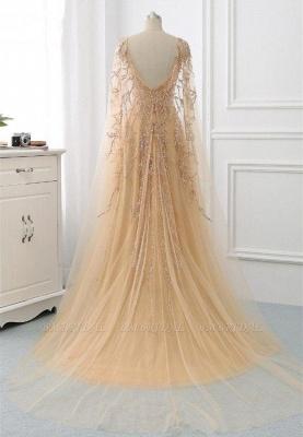 Элегантные платья выпускного вечера с длинными рукавами и оборками с жемчугом и бисером онлайн_4