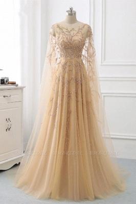 Элегантные платья выпускного вечера с длинными рукавами и оборками с жемчугом и бисером онлайн_1