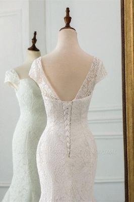 Elegant Cap Sleeve Aweetheart Floral Lace Slim Mermaid Wedding Dress Lace-up Wedding Party_4