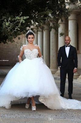 Élégante robe de mariée blanche en tulle à manches longues en tulle_1