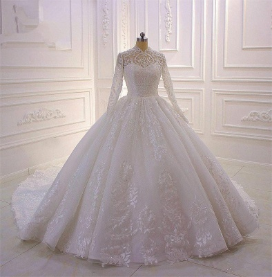 Sparkle Lace Ball Gown High Neck Tull Long Sleeves Wedding Dress_6
