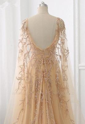 Элегантные платья выпускного вечера с длинными рукавами и оборками с жемчугом и бисером онлайн_3