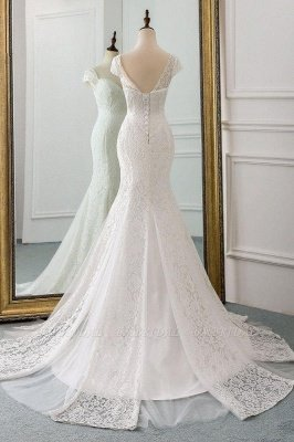 Elegant Cap Sleeve Aweetheart Floral Lace Slim Mermaid Wedding Dress Lace-up Wedding Party