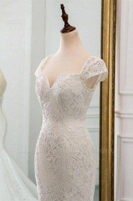 Elegant Cap Sleeve Aweetheart Floral Lace Slim Mermaid Wedding Dress Lace-up Wedding Party_3