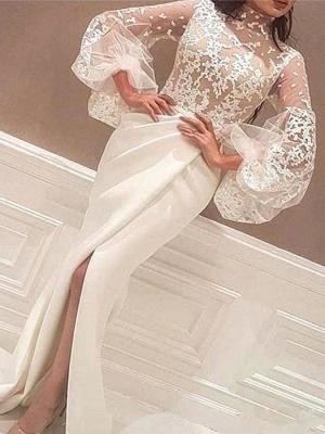 Robe de mariée sirène col haut en dentelle robe de soirée en satin à manches longues_1