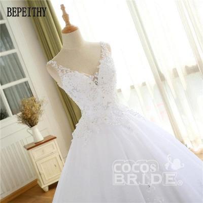 Vestidos de novia con cuentas de encaje de lujo 2021 Correas con cuello en V Vestido largo de baile Vestido de novia para fiesta de boda_6