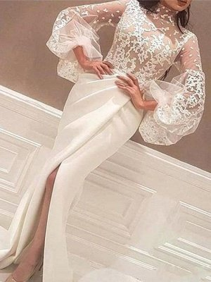 Mermaid High Neck Lace Wedding Dress Satin Long Sleeve Evening Party Dress