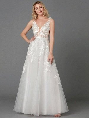 A-Line Wedding Dresses Plunging Neck Floor Length Lace Tulle Sleeveless See-Through_2