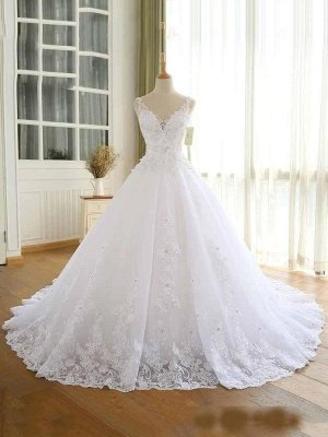 Luxury Lace Beaded Wedding Dresses 2020 V Neck Straps Long Ball Gown Wedding Party Bridal Dress