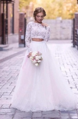 2 Piece Wedding Dresses A Line Long Sleeve tulle Wedding dresses with lace appliques_1