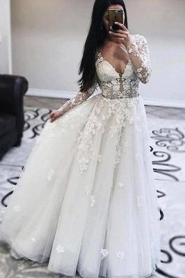 Gorgeous White Lace V-neck A-line Tulle V-neck Wedding Dress