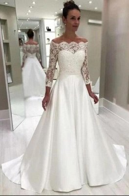 Royal Off-the-shoulder Court train White Princess Wedding Dress