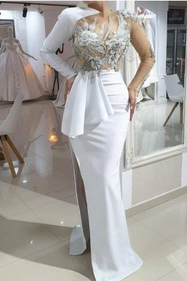 Mermaid One-shoulder High split White Illusion neck Wedding Dress